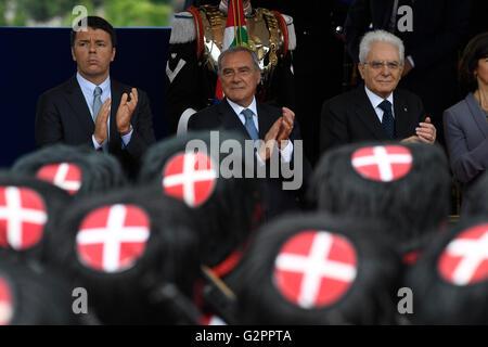 Rome, Italy. 02nd June, 2016.  Italian Prime Minister Matteo Renzi, Italian Senate President Pietro Grasso and Italian - Stock Photo