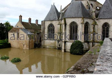 Ile de France, Nemours, flood, June 1st, 2016 - Stock Photo