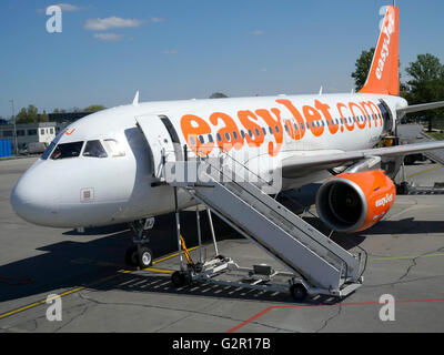 Easyjet Airbus A320-214 on the apron at Berlin Schonefeld, Berlin, Germany, Europe. - Stock Photo