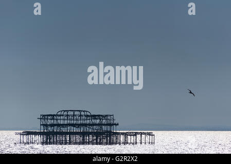 Silhouette of the West Pier - Stock Photo