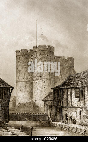 West Gate Canterbury City wall, Canterbury, Kent, England - Stock Photo