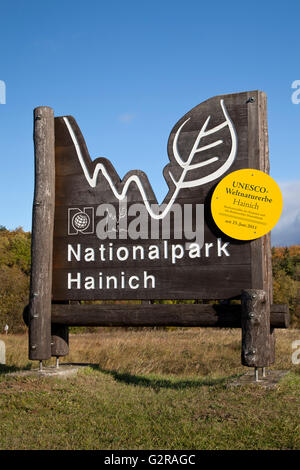 Entrance sign to the Hainich National Park, UNESCO World Heritage Site, Hainich, Thuringia, Germany - Stock Photo