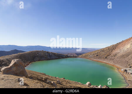 The Emerald Lakes on the Tongariro National Park on the north island in New Zealand. - Stock Photo