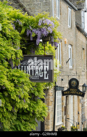 Vintage and Paint shop sign and wisteria. Stow on the Wold, Gloucestershire, Cotswolds, England - Stock Photo
