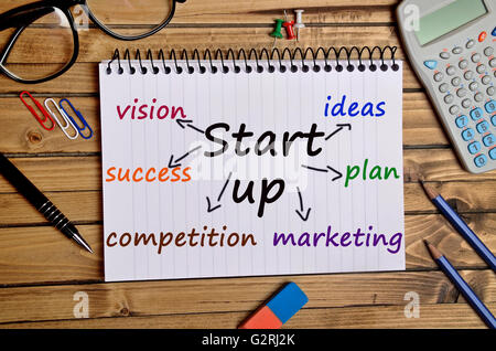 Start up word on notebook page - Stock Photo