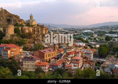 Narikala Castle and view over the city of Tbilisi, in Georgia. - Stock Photo