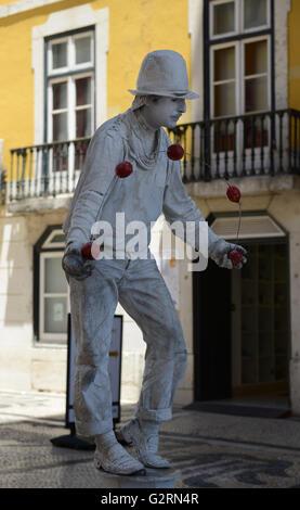 A human sculpture on Augusta pedestrian street in Lisbon. - Stock Photo