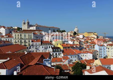View from Miradouro de Santa Luzia over the old city quarter Alfama in Lisbon, - Stock Photo