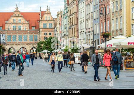 Gdansk, Poland, the Long Market (Dlugi Targ) in Glowne Miasto - Stock Photo