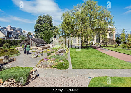 Alpine House and courtyard in front of Palm House in The Royal Botanic Garden in Edinburgh Scotland - Stock Photo