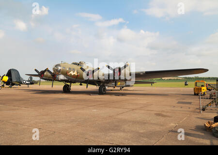 Boeing B-17 Flying Fortress ' Sally B ' on the ground, Imperial war museum Duxford UK - Stock Photo