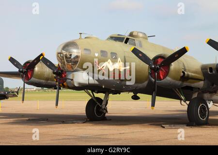 Boeing B-17 Flying Fortress ' Sally B ' on the ground, Duxford American Airshow, Cambridge  UK - Stock Photo
