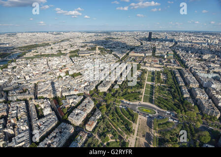 The southeast cityscape of Paris over seen from the Eiffel Tower, overlooking the Champ de Mars Park, Paris, France. - Stock Photo