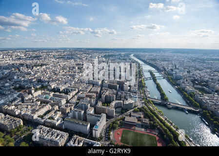 The look from atop the Eiffel Tower overlooking the southwest side of Paris and the Seine river, Paris, France. - Stock Photo