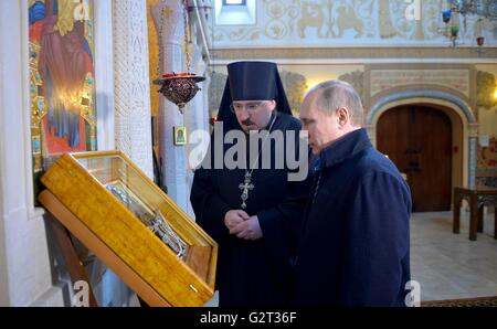 Russian President Vladimir Putin visits the Church of Saint Martyrs Vera, Nadezhda, Lyubov and Their Mother Sofia - Stock Photo