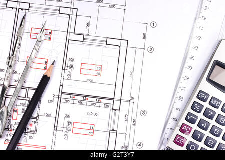 Building Plan With Calculator Ruler And Pencil Stock