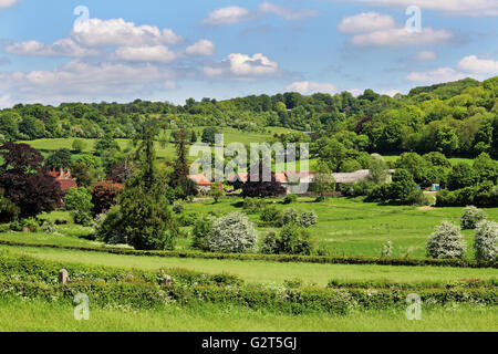 An English Rural Landscape in the Chiltern Hills with Hamlet - Stock Photo