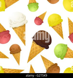 Bright colorful ice cream cones different tastes, seamless pattern - Stock Photo