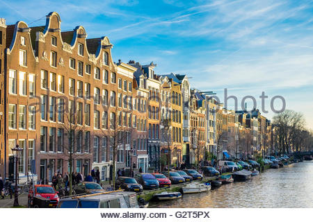 Canal houses along the Prinsengracht canal, Amsterdam, North Holland, Netherlands - Stock Photo