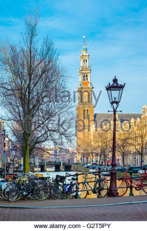 Westerkerk church and Prinsengracht canal, Amsterdam, North Holland, Netherlands - Stock Photo