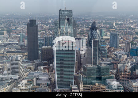 The City Of London from The Shard Viewing Platform ,London's highest viewing gallery offering superb views of London - Stock Photo