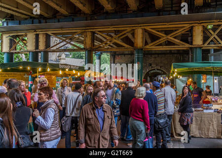 Crowds at  Borough Market ,Bermondsey, London .Borough Market  is London's most renowned food and drink market with - Stock Photo