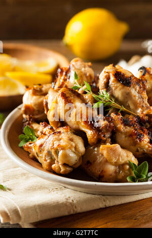 Grilled Lemon Garlic Chicken Wings Ready to Eat - Stock Photo