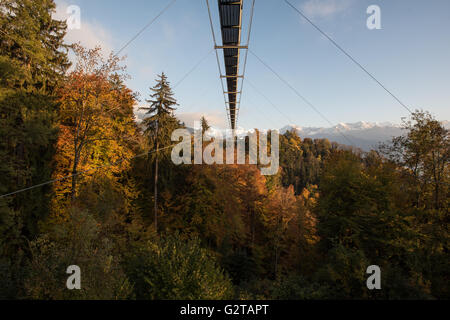 23.10.2015, Sigriswil, Canton Bern, Switzerland - Haengebruecke over the rubber gorge that separates Sigriswil of - Stock Photo