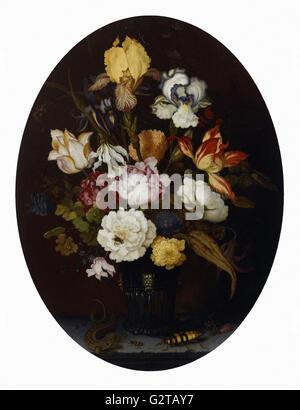 Balthasar van der Ast - Still Life of Flowers in a Glass Vase - - Stock Photo