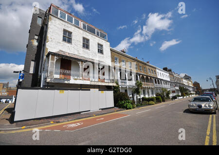 Royal Hotel and Terrace Southend on Sea were built between 1791 and 1793. Houses in the terrace were used in WWII - Stock Photo