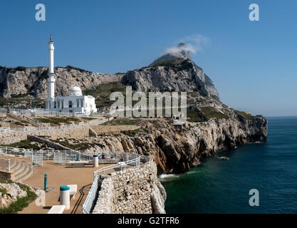 Ibrahim-al-Ibrahim Mosque and the Rock of Gibraltar as seen from Europa Point - Stock Photo