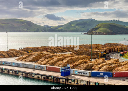 Timber is ready for shipping at a dock, Port Chalmers, Dunedin, Otago region, South Island, New Zealand - Stock Photo