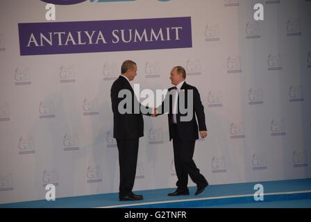 Turkish President Recep Tayyip Erdogan (L) greets Russian President Vladimir Putin as he officially arrives for - Stock Photo