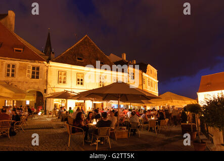 Piata Mica ( Small Square ) and restaurant, Romania, Transilvania, Transylvania, Siebenbürgen (Transsilvanien) , - Stock Photo