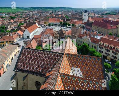 View from the Protestant parish church in Piata Mica ( Small Square ) and the council tower, Romania, Sibiu, Transylvania - Stock Photo