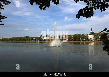 24.07.2015, Schwerin , Mecklenburg-Western Pomerania, Germany - Overlooking the Pfaffenteich. 00S150724D838CAROEX.JPG - Stock Photo