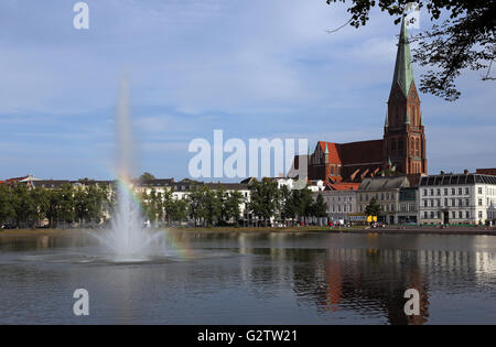 24.07.2015, Schwerin , Mecklenburg-Western Pomerania, Germany - Overlooking the Pfaffenteich and Schwerin Cathedral - Stock Photo