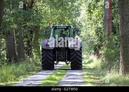 01.08.2015, Neustadt (Dosse) , Brandenburg, Germany - Tractor moves along a leveled forest track. 00S150801D809CAROEX.JPG - Stock Photo