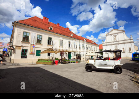 Museum of broken relationships and old vintage carin front. Zagreb old town. - Stock Photo