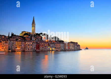 Rvinj town in the night - Stock Photo
