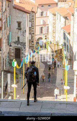 Le Puy Cathedral, via Podiensis, UNESCO World Heritage Site, Le Puy-en-Velay, Haute Loire, Auvergne, France - Stock Photo