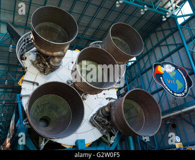 Giant Rocket Motors on the First Stage of NASA's Saturn V Rocket, which was used in the Apollo program to take men - Stock Photo