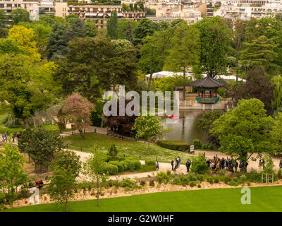 A view of the Jardin d'Acclimatation from the Louis Vuitton Foundation building in Paris, France - Stock Photo