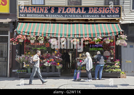 Jasmine's Floral Designs on 5th Avenue in the Park Slope neighborhood of Brooklyn, NY. - Stock Photo