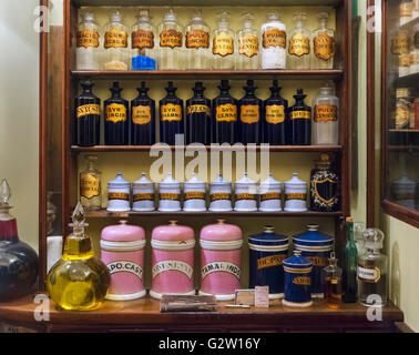 Reproduction of a Pharmacy in the Victorian era, Museum of London, London, UK - Stock Photo