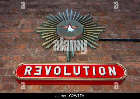 Revolution bar on Albert Dock waterfront, Liverpool, Merseyside, UK - Stock Photo