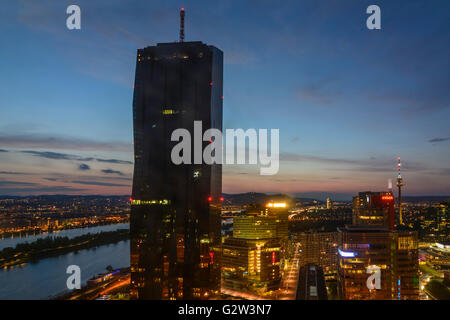 DC Tower 1 in the Danube City, left the Danube and New Danube, right the Donauturm, Austria, Vienna, Wien - Stock Photo