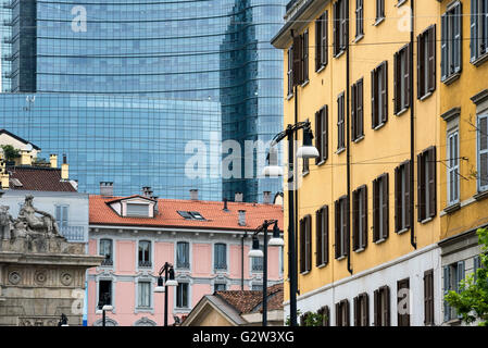 Milan (Lombardy, Italy) - old and modern buildings near the Gae Aulenti square and Corso Garibaldi - Stock Photo