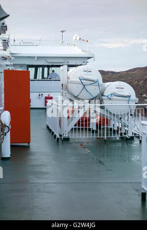 On board the Caledonian Macbrayne Ferry MV Loch Seaforth departing at Stornoway Harbour to Ullapool - Stock Photo