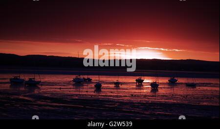 Sunset over the Exe Estuary, seen from Lympstone, Devon (UK) - Stock Photo